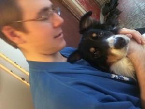 Raj, våran hund blev glad när jag kom hem