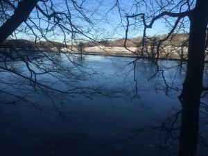 Ån som rinner genom dalen i Fyledalen.........har blivit en stor sjö nu efter allt regn men med mer kyla blir det snart en fin skridskobana.