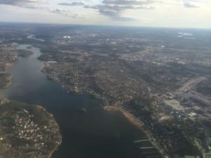 Stockholm från luften. Vi (jag och Håkan) flög mellan Malmö (Sturup) och Luleå (Kallax) via Stockholm (Arlanda)