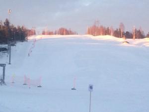 Slalombacken som vi parallellt med och faktiskt en kortare stigning rakt uppför som syns på bilden.
