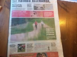 Vi på första sidan i lokaltidningen.
