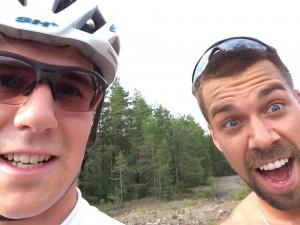 Adam och jag efter intervallpasset, är inte lika king som Adam att ta selfies än.