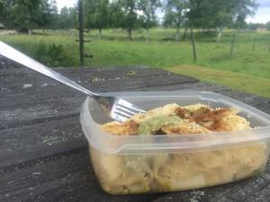 Min lunchlåda idag. Eftersom jag har möjligheten att pausa när jag vill så äter jag gärna min lunch mellan kl 12-13, blir lagom sen att äta något lättare innan träningen på eftermiddagen. Dessutom kan man sätta sig och äta på fina platser som idag, vid en äng med betande kor. Eftersom jag inte har möjligheten att värma min mat så har jag kall mat i min kylväska som består av  olika typer av pastasallad. Idag var det pasta (ca: 100 gram), kyckling ca: 150 gram), Fetaost (75 gram), ärter (ca: 50 gram) och pesto. Ibland byter jag ut kyckling till kassler för lite variation. Gott är det!