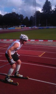 Jag i starten på 15 km skate. Foto: Johan Andersson