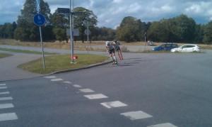 Jag och Axel ute på det sista varvet. Foto: Johan Andersson