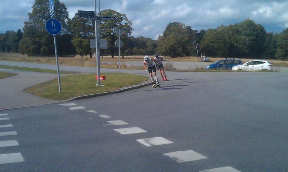 Jag och Axel Bergsten ute på det sista varvet i SM skate 15 km, där jag blev 6:a och Axel tog silver medaljen. Foto: Johan Andersson