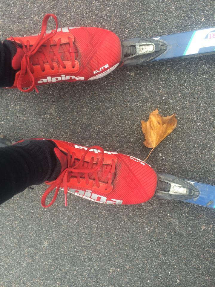 Fick sällskap av ett löv sista biten av dagens rullskidpass, är ju alltid trevlig med sällskap. Cred till Lunds kommun att de har rensat bort löven från cykelbanorna nyligen, men fanns tydligen en del kvar ändå.