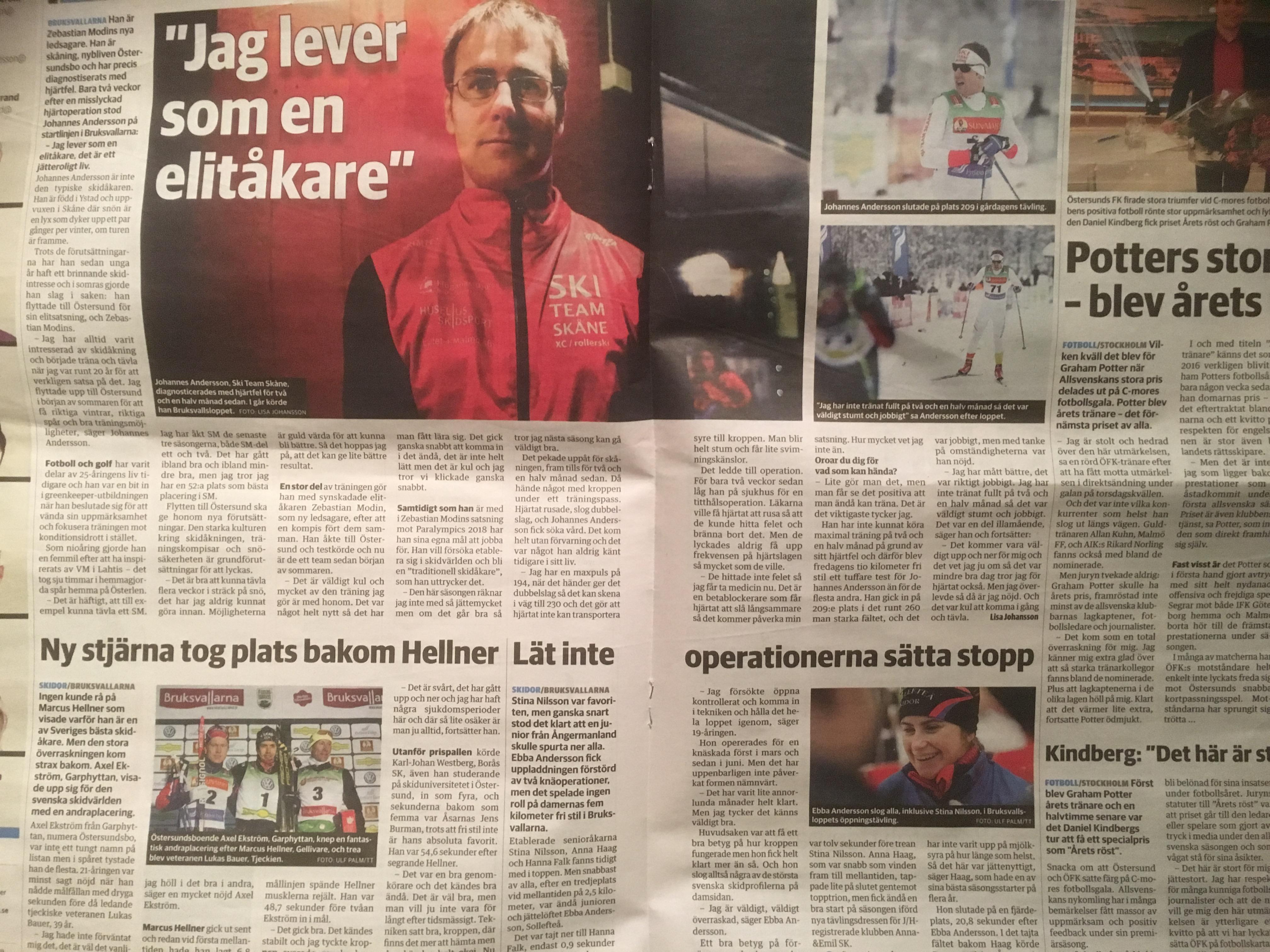Fastnade både på bild och text i lokaltidningen i Östersund.